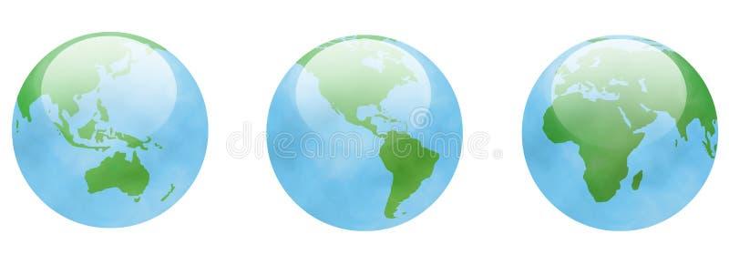 Três globos ilustração do vetor