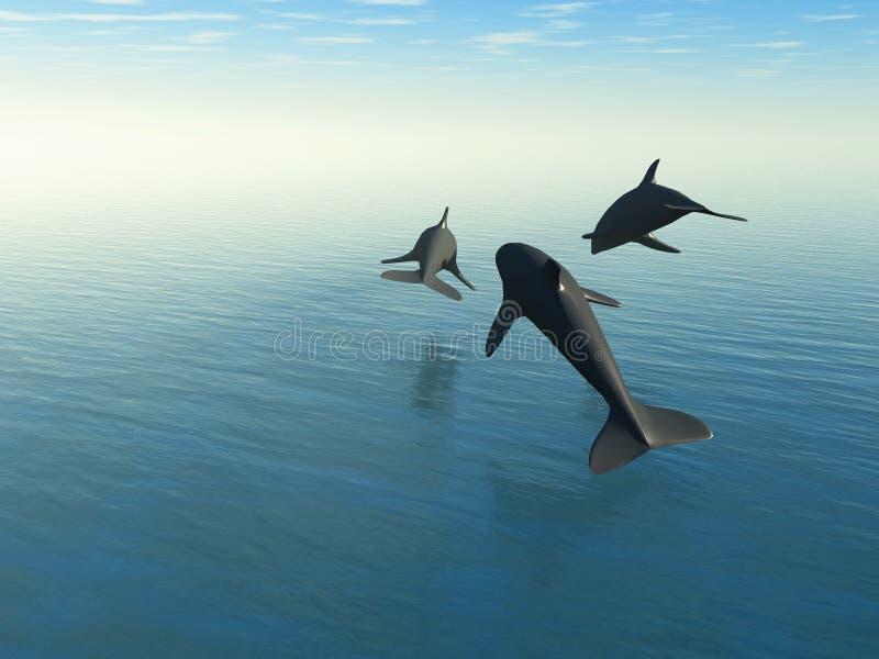 Três golfinhos acima do mar ilustração stock