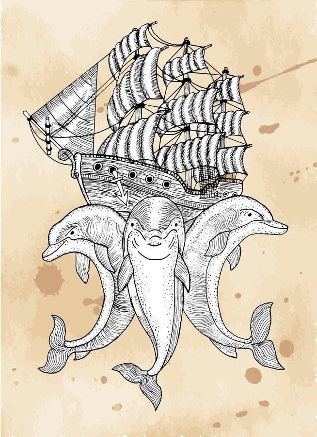 Três golfinhos com o navio no fundo de papel ilustração stock