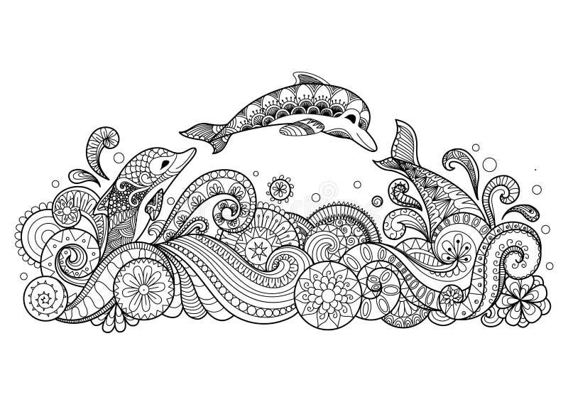 Três golfinhos que nadam felizmente o estilo do zentangle para o livro para colorir para o adulto