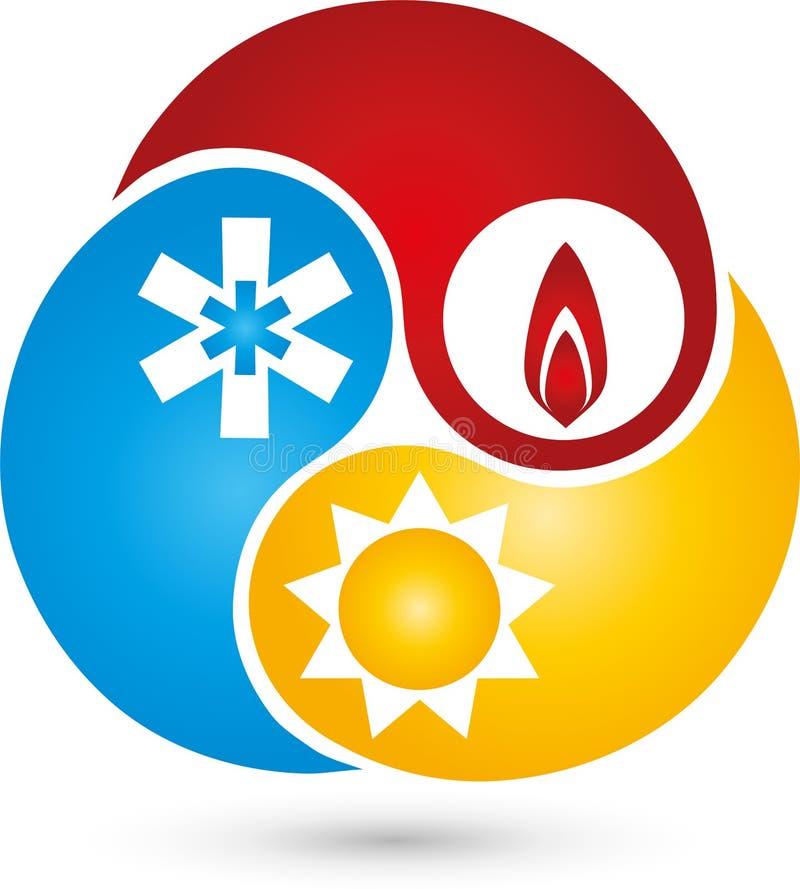 Três gotas com logotipo da água, da neve e do sol, do condicionamento de ar e do encanamento ilustração royalty free