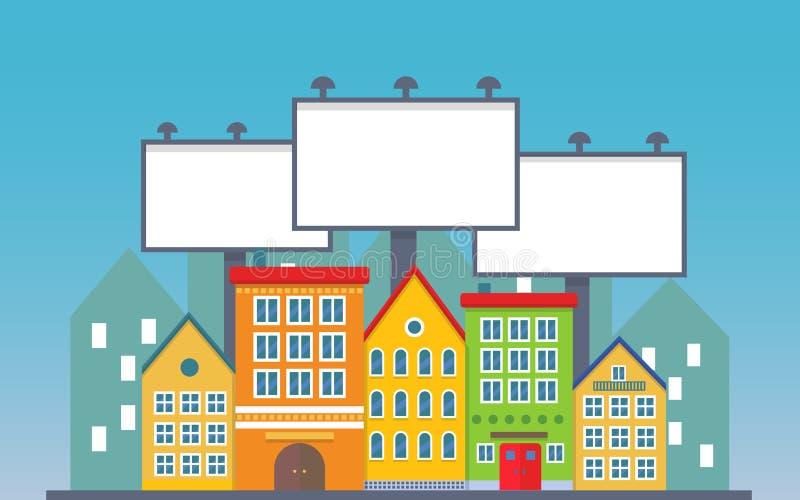Três grandes quadro de avisos urbano vazio junto sobre construções pequenas da rua da cidade da cidade Propaganda do quadro de av ilustração stock