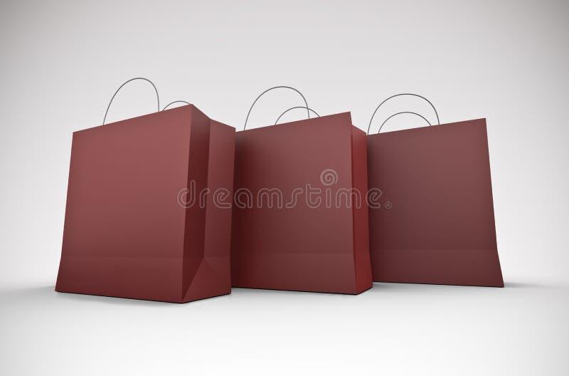 Três grandes sacos de compra ilustração do vetor