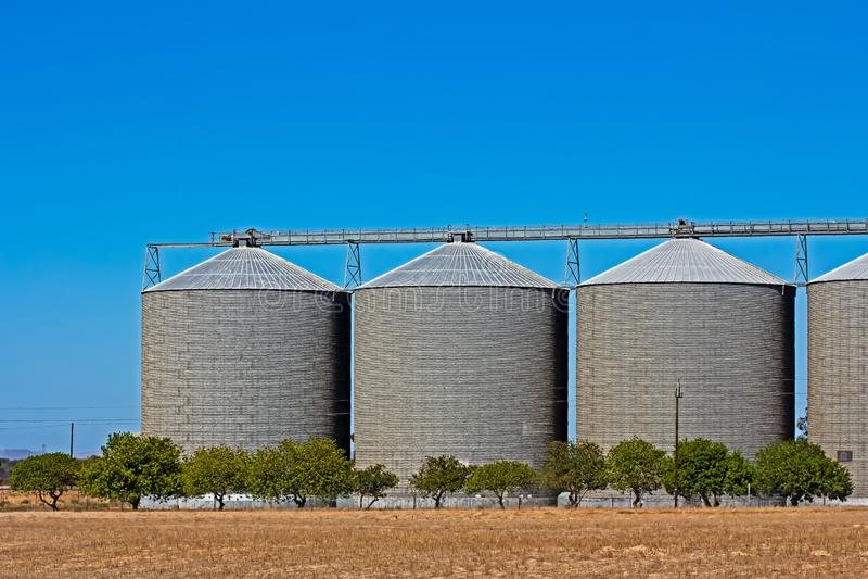 Três grandes silos do armazenamento da grão fotografia de stock