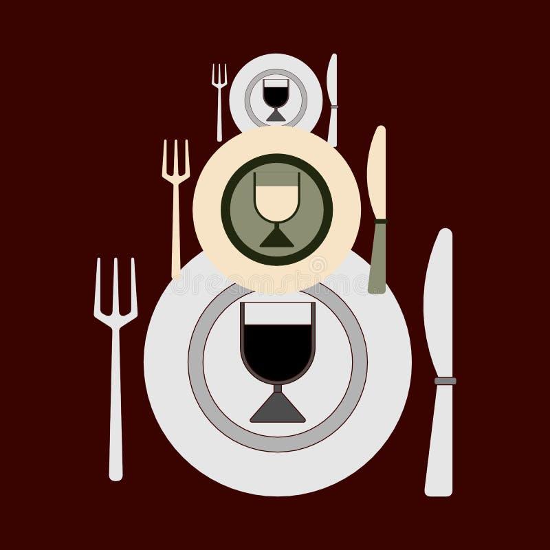 Três grupos de cutelaria de tamanhos diferentes para pratos em mudança em um fundo escuro Estilo liso do vetor ilustração stock