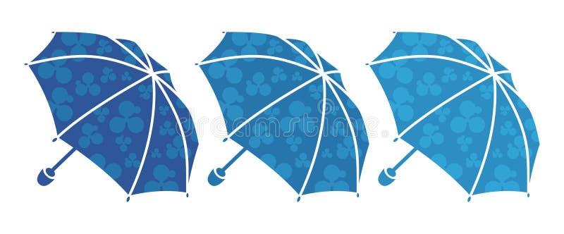 Três guarda-chuvas azuis ilustração do vetor
