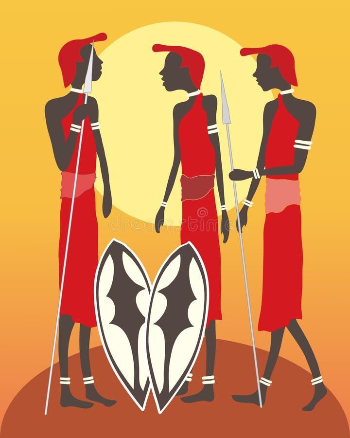 Três guerreiros do masai ilustração do vetor