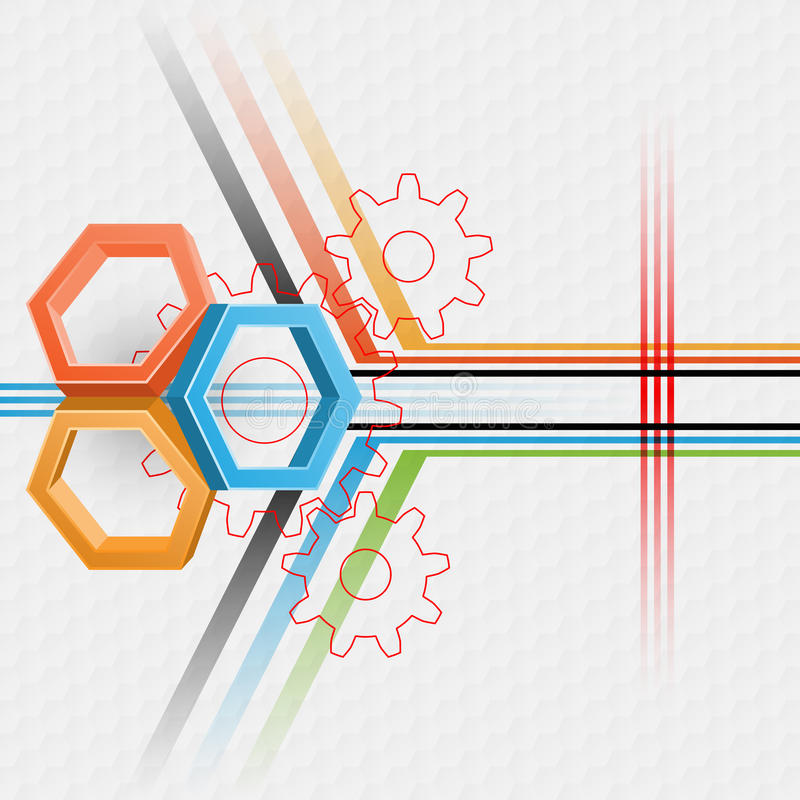 Três hexágonos das dimensões com projeção da engrenagem no projeto linear geométrico ilustração do vetor