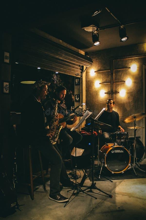 Três Homens Band Com Instrumentos Musicais imagem de stock royalty free