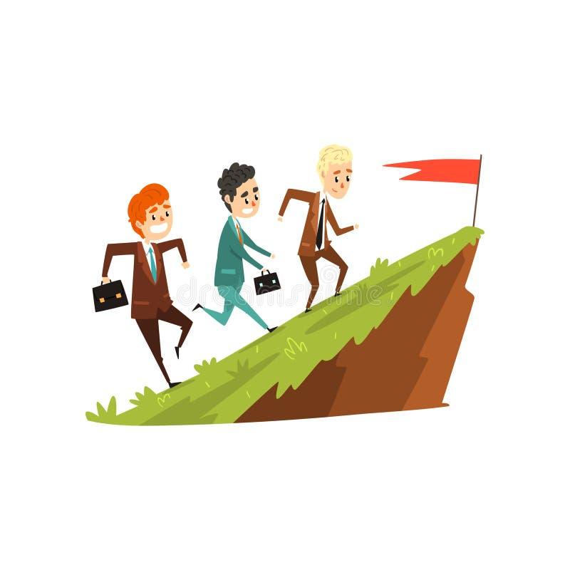 Três homens de negócios que correm junto na montanha para embandeirar, líder que corre adiante, negócio, conceito do desenvolvime ilustração do vetor