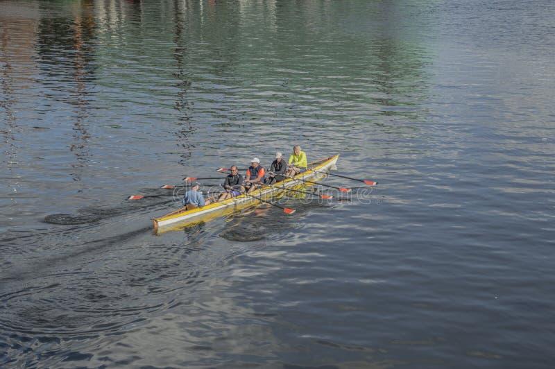 Três homens em um barco de enfileiramento fotos de stock royalty free