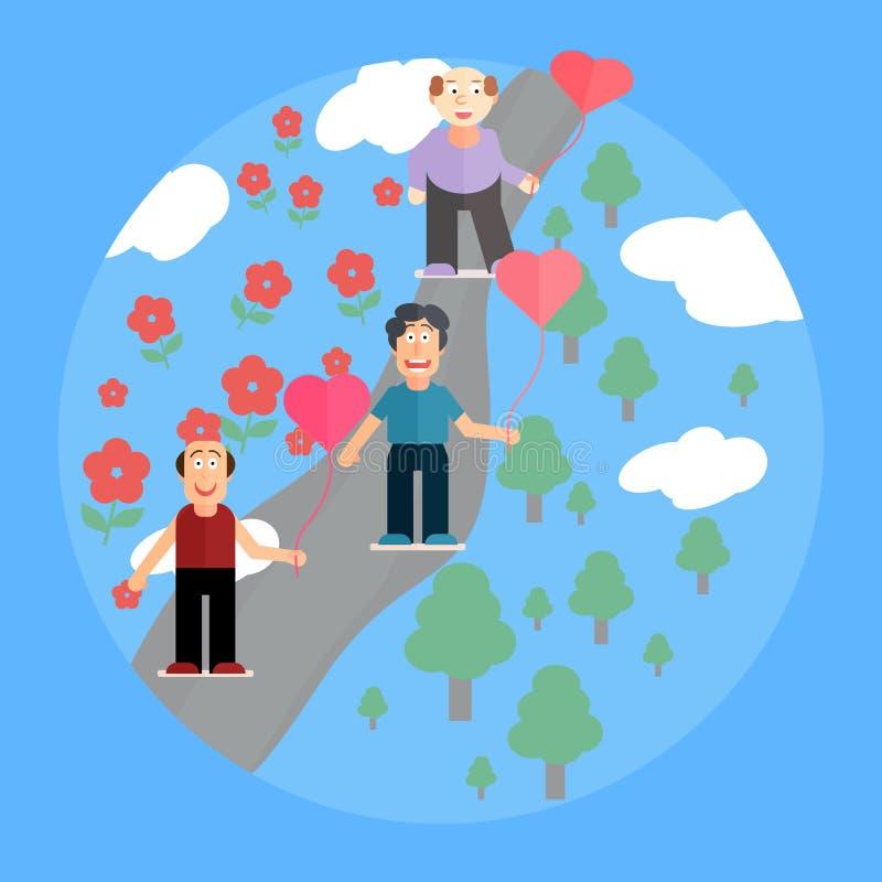 Três homens guardam os símbolos dos corações Cartão festivo ao dia de Valentim do St, plano do estilo ilustração stock