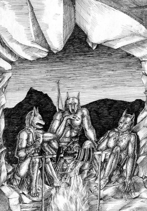 Três homens-lobo perto do fogo na caverna ilustração do vetor