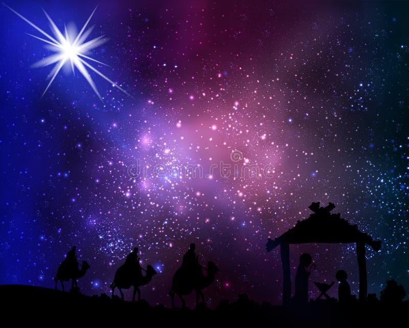 Três homens sábios e Jesus contra as estrelas do fundo ilustração royalty free