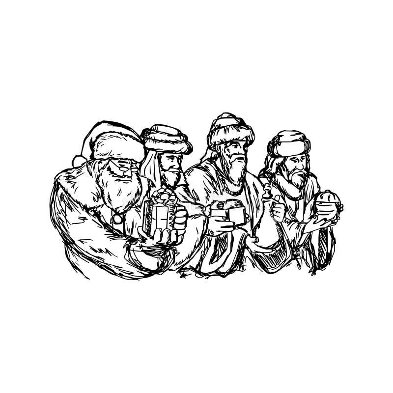 Três homens sábios e Papai Noel vector a mão d do esboço da ilustração ilustração stock