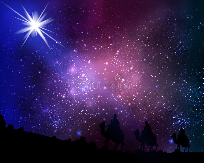 Três homens sábios no fundo do céu e de estrelas cósmicos ilustração royalty free