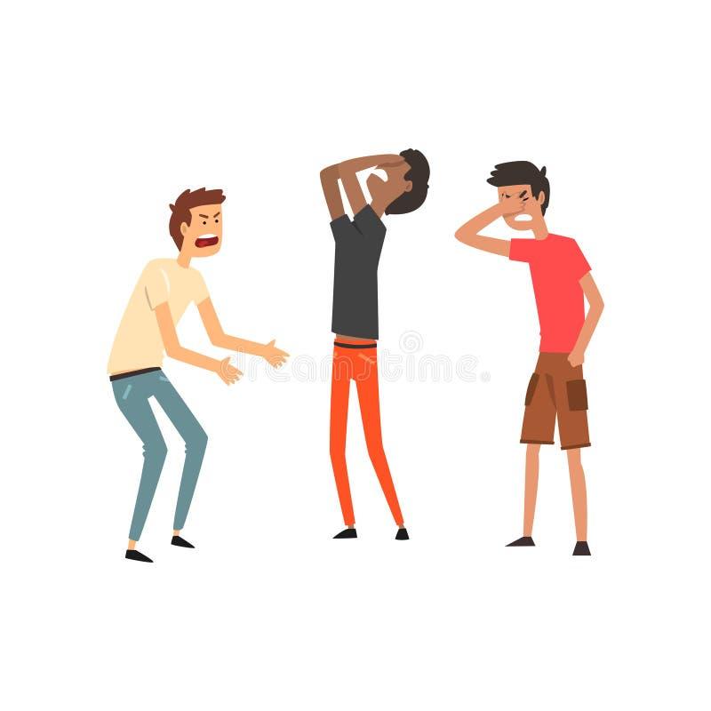Três ilustrações dos homens que discutem e que juram, as agressivas e as violentas do comportamento do vetor em um fundo branco ilustração stock