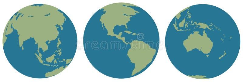 Três imagens da terra ilustração do vetor