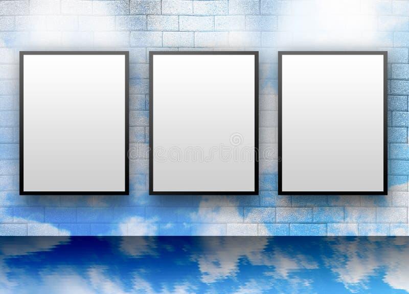 Três indicadores em branco do branco na parede da nuvem ilustração do vetor