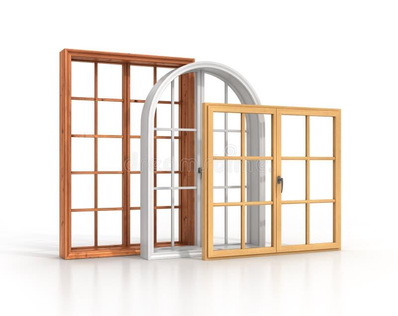 Três janelas de madeira ilustração royalty free