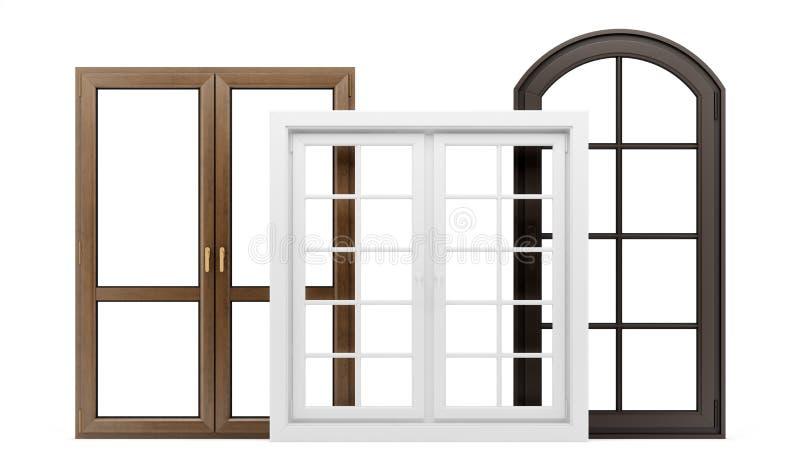 Três janelas isoladas no branco ilustração do vetor