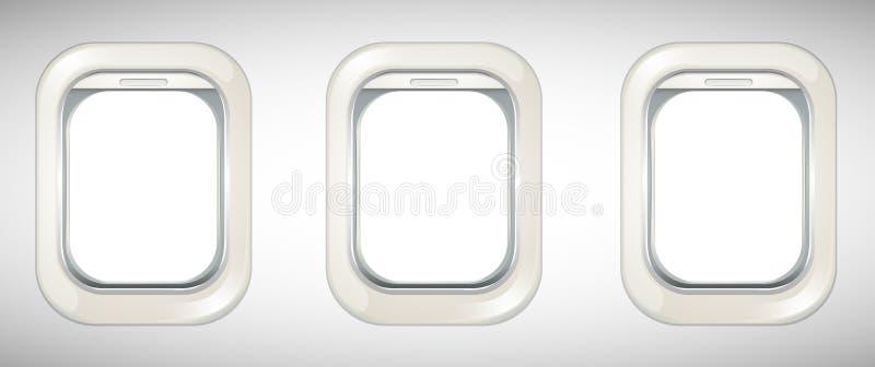 Três janelas no avião ilustração stock
