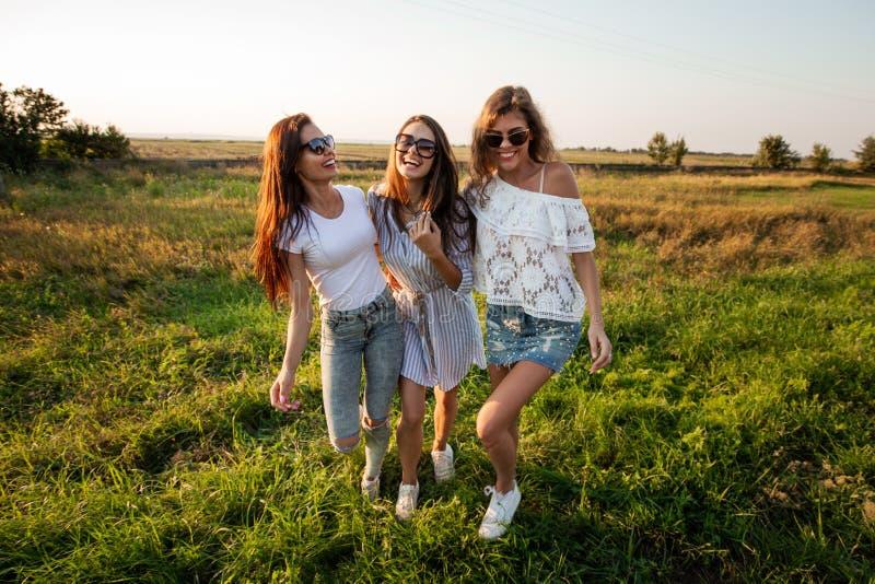 Três jovens mulheres lindos nos óculos de sol vestidos na roupa bonita estão no campo e no sorriso em um dia ensolarado imagens de stock royalty free