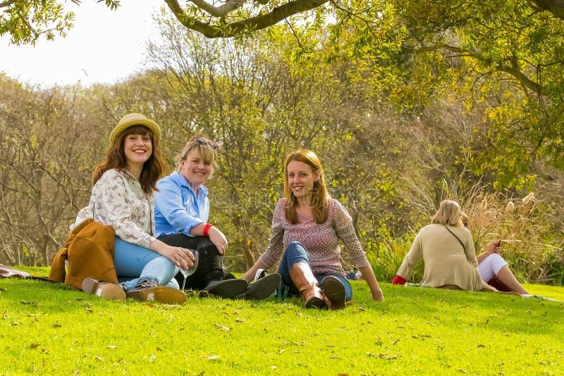 Três jovens mulheres que apreciam um vidro do vinho no inverno Sculptu foto de stock royalty free