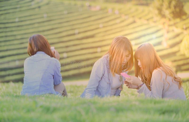 Três jovens mulheres que olham no telefone celular Meninas adolescentes dos ganhos Outd fotografia de stock royalty free