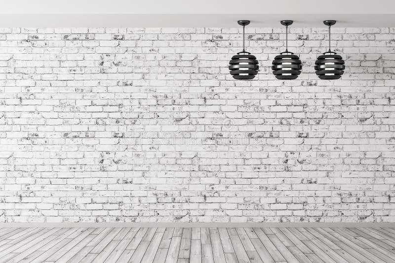 Três lâmpadas contra da rendição do fundo 3d da parede de tijolo ilustração do vetor