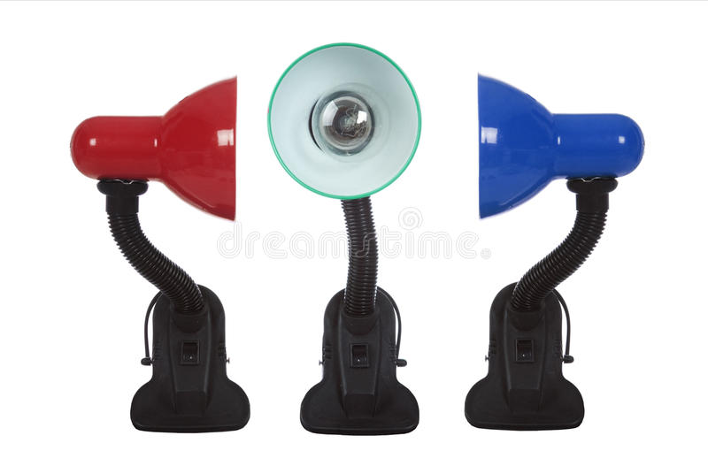 Três lâmpadas de tabela imagens de stock