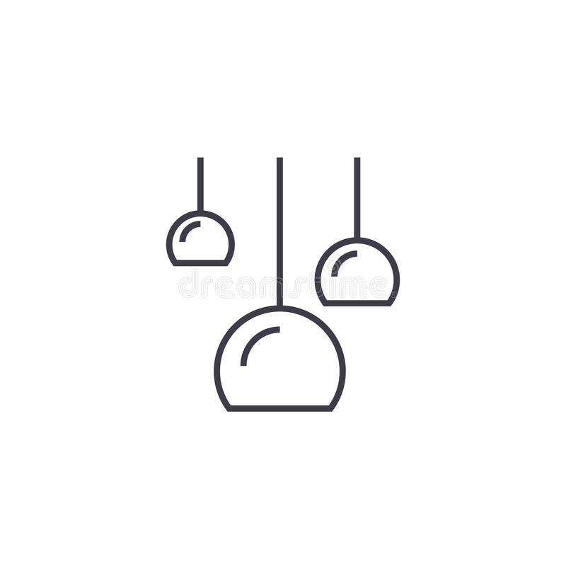 Três lâmpadas do teto vector a linha ícone, sinal, ilustração no fundo, cursos editáveis ilustração do vetor