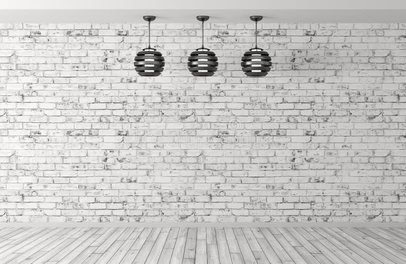 Três lâmpadas sobre a rendição da parede de tijolo 3d ilustração stock