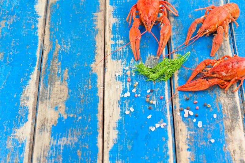 Três lagostins e galhos fervidos vermelhos inteiros do aneto verde fresco e pimenta e sal dispersados imagem de stock
