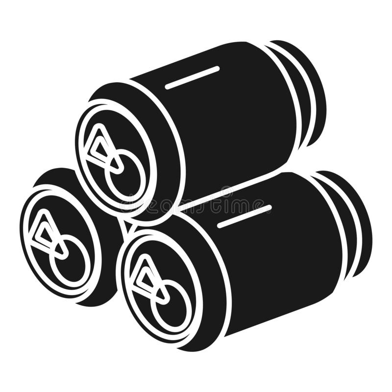 Três latas do ícone da bebida, estilo simples ilustração stock