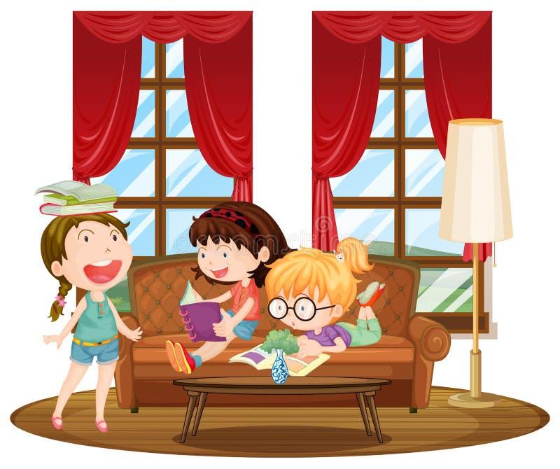 Três livros de leitura das meninas na sala de visitas ilustração stock