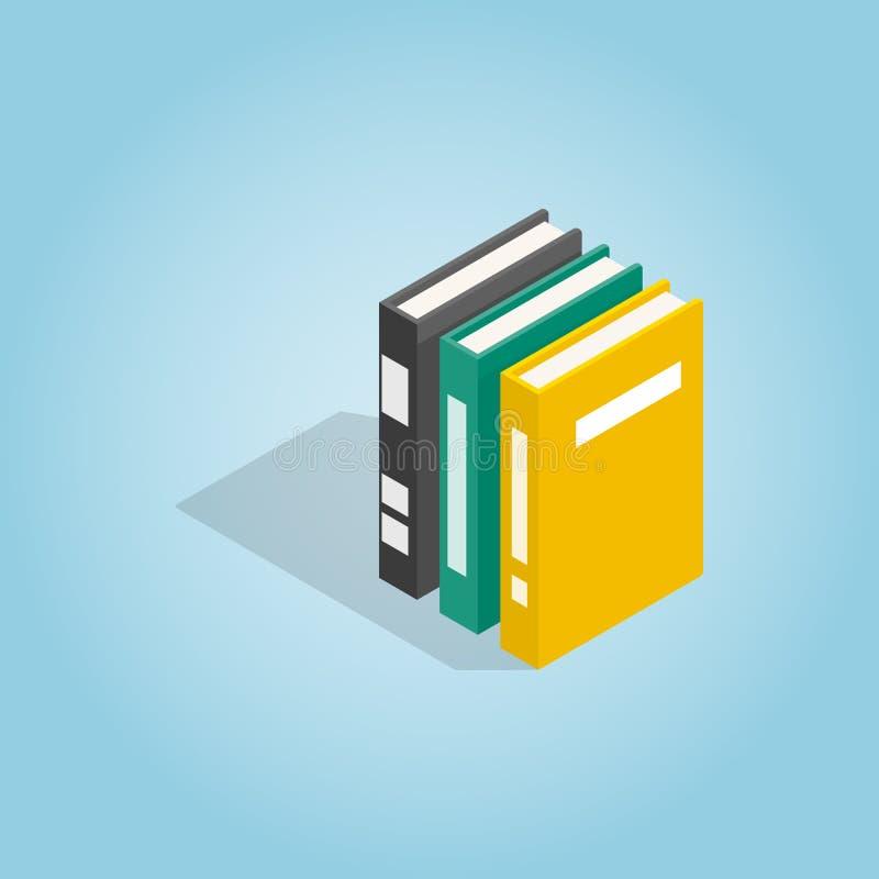 Três livros do ícone da enciclopédia ilustração stock