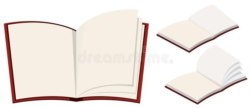 Três livros vazios no fundo branco ilustração do vetor