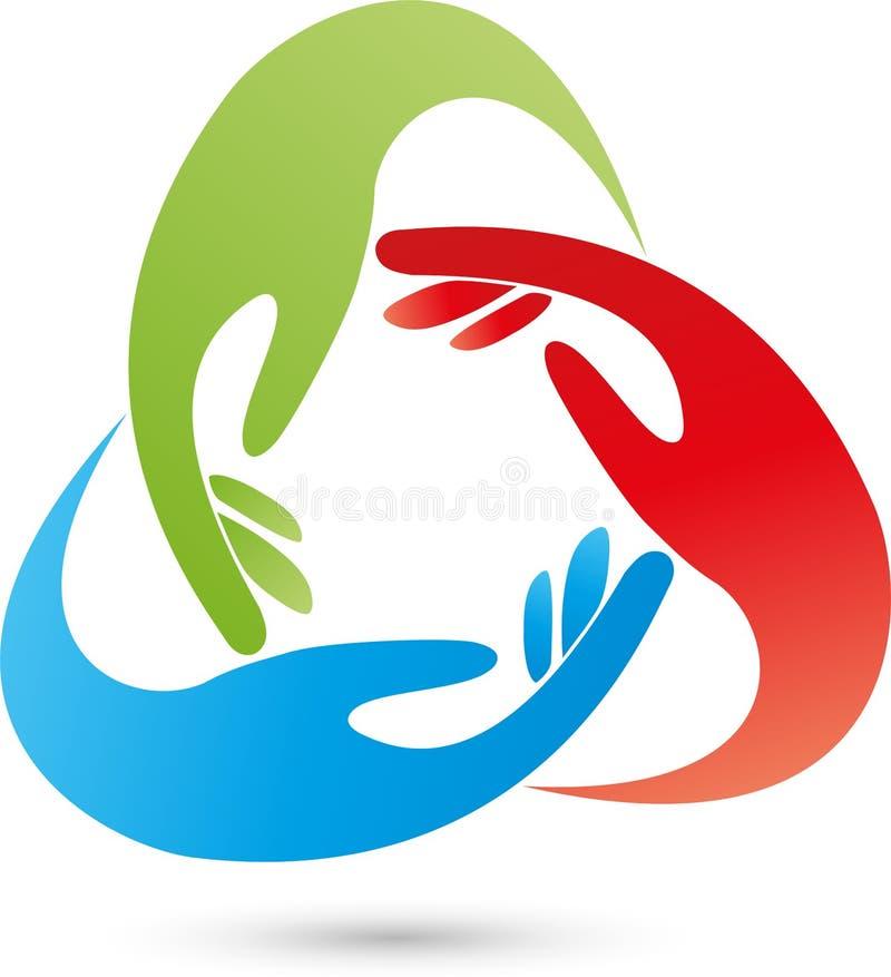 Três logotipos das mãos, dos povos e das mãos ilustração royalty free