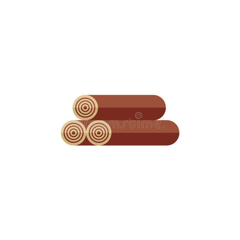 Três logs da madeira, lenha, ícone liso do estilo ilustração royalty free