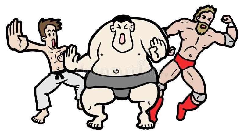 Três lutadores ilustração do vetor