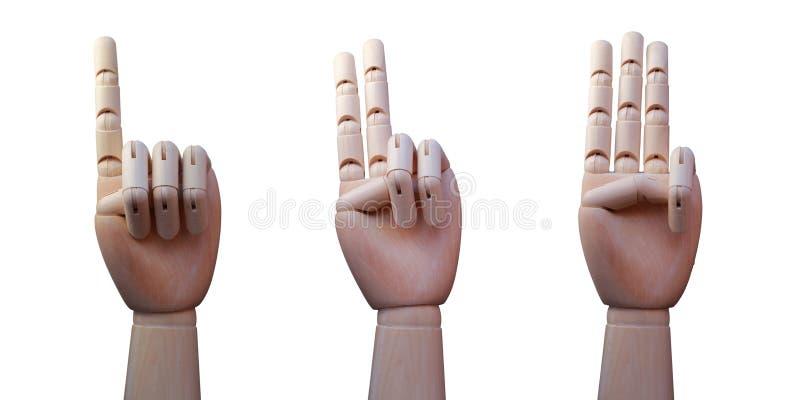 Três mãos de madeira, com os um, dois e três dedos aumentados respectivamente imagem de stock royalty free