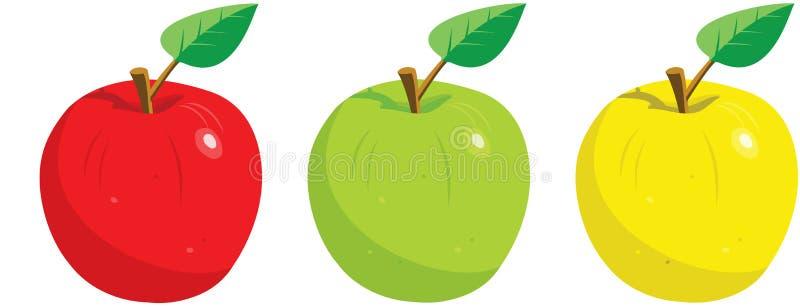 Três maçãs com folha ilustração stock