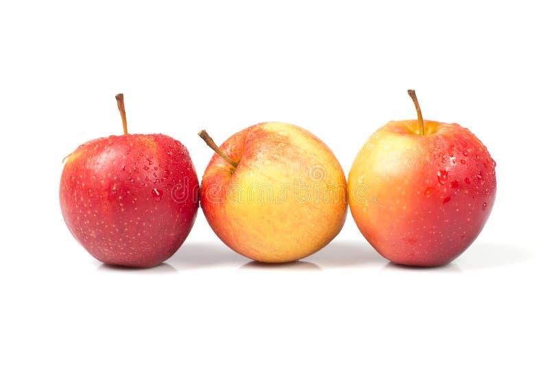 Três maçãs isoladas com gotas da água imagens de stock