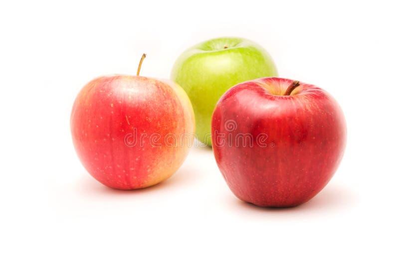 Três maçãs no fundo branco imagem de stock royalty free