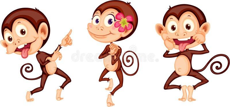 Três macacos ilustração stock