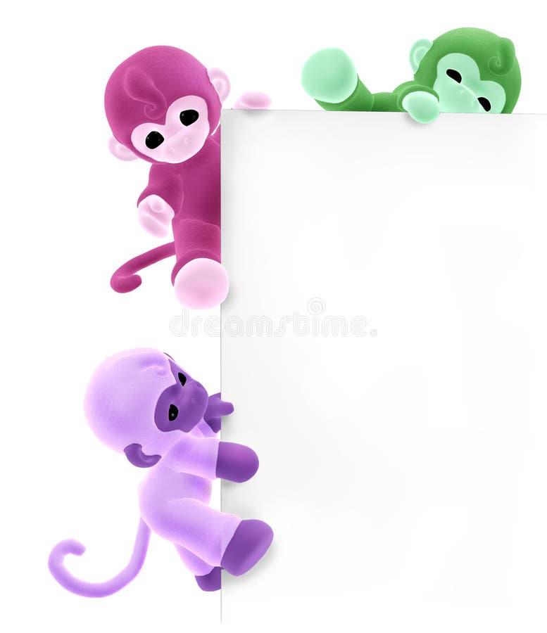 Três macacos na borda do sinal - com trajeto de grampeamento ilustração do vetor