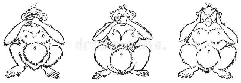 Três macacos sábios ilustração stock