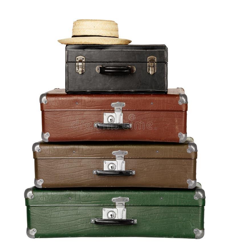 Três malas de viagem imagens de stock