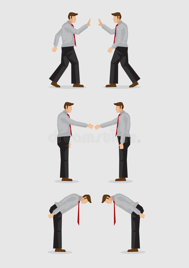 Três maneiras de cumprimento gesticulam a ilustração do vetor ilustração royalty free